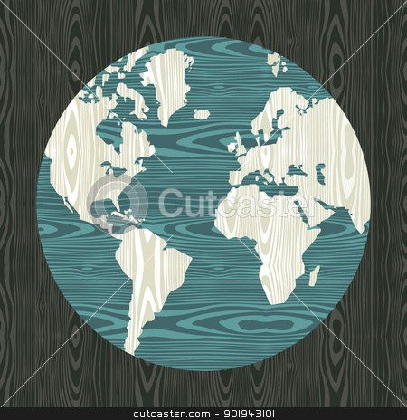 World map shape in wood  stock vector clipart, Wooden world shape texture postcard background. Vector illustration layered for easy manipulation and custom coloring. by Cienpies Design