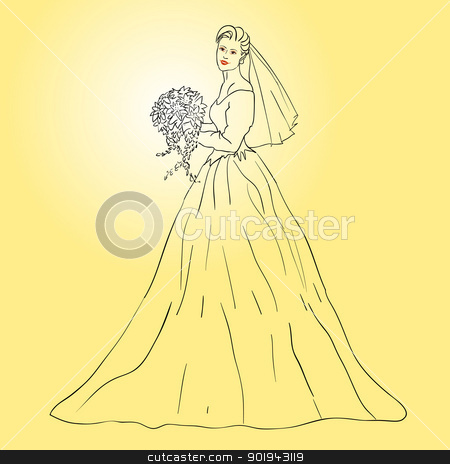 Bride in wedding dress white with bouquet stock vector clipart, Bride in wedding dress white with bouquet by aarrows