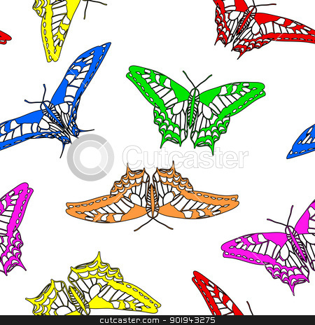 Butterfly Wallpaper on Butterflies Seamless Wallpaper  Vector Illustration  Stock Vector