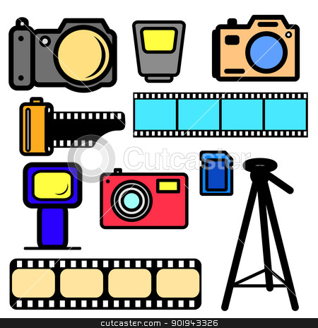 vector set of cameras and accessories. stock vector clipart, vector set of cameras and accessories. by aarrows