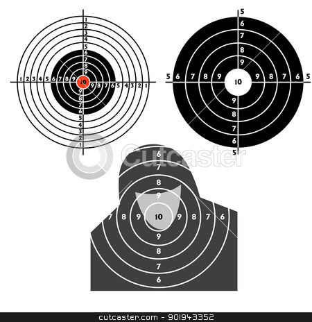 Set targets for practical pistol shooting stock vector clipart, Set targets for practical pistol shooting, exercise. Vector illustration by aarrows