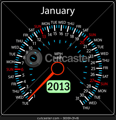 2013 year calendar speedometer car in vector. January. stock vector clipart, 2013 year calendar speedometer car in vector. January. by aarrows