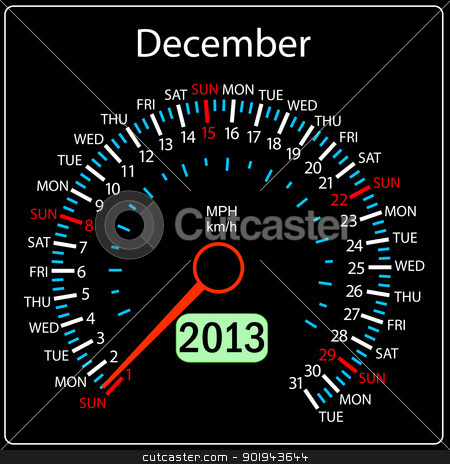 2013 year calendar speedometer car in vector. December. stock vector clipart, 2013 year calendar speedometer car in vector. December. by aarrows