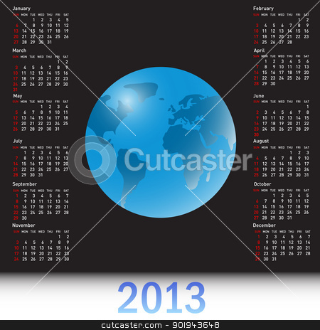 A globe Calendar for 2013 stock vector clipart, A globe Calendar for 2013 by aarrows