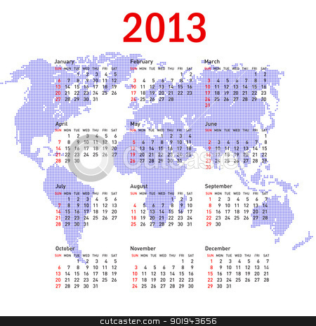 calendar 2013 with world map. Sundays first stock vector clipart, calendar 2013 with world map. Sundays first by aarrows
