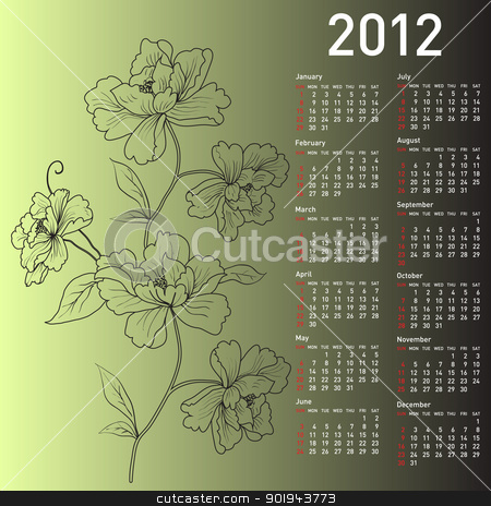 2012 vector calendar with flowers stock vector clipart, 2012 vector calendar with flowers by aarrows