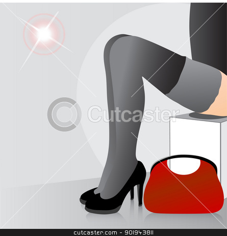 Beautiful female feet  stock vector clipart, Beautiful female feet in shoes in a shop fitting room by aarrows