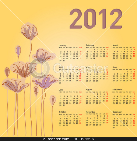 Stylish calendar with flowers for 2012. Week starts on Monday. stock vector clipart, Stylish calendar with flowers for 2012. Week starts on Monday. by aarrows