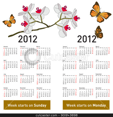 Stylish calendar with flowers and butterflies for 2012. Week sta stock vector clipart, Stylish calendar with flowers and butterflies for 2012. Week starts on Monday. by aarrows