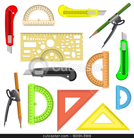 set of school instruments. stock vector clipart, set of school instruments. Protractor, compass, protractor and a knife. Vector illustration.  by aarrows