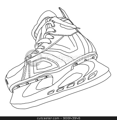 men 39 s hockey skates drawn by hand stock vector. Black Bedroom Furniture Sets. Home Design Ideas