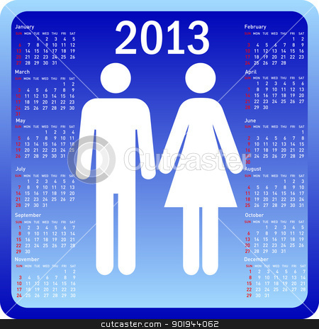 Stylish calendar family for 2013. Week starts on Sunday. stock vector clipart, Stylish calendar family for 2013. Week starts on Sunday. by aarrows