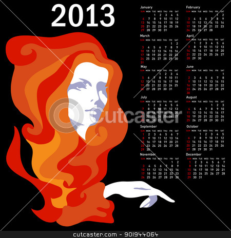 Stylish calendar with woman  for 2013. Week starts on Sunday. stock vector clipart, Stylish calendar with woman  for 2013. Week starts on Sunday. by aarrows