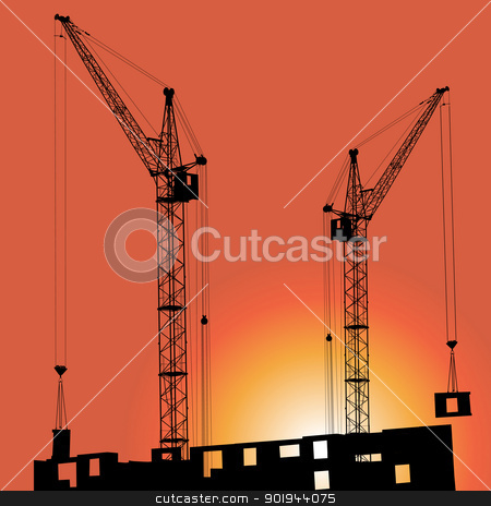 Silhouettes of crane on building against  stock vector clipart, Silhouettes of crane on building against the backdrop of the sunset by aarrows