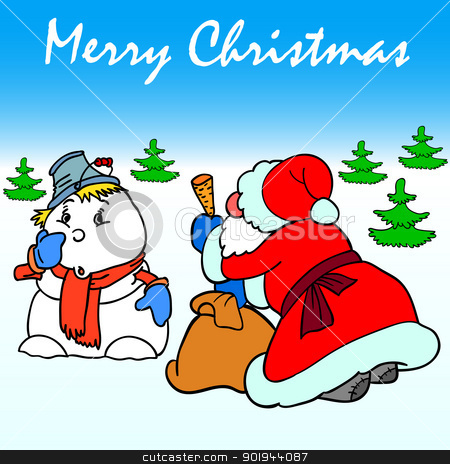 Santa Claus and Snowman stock vector clipart, Santa Claus makes a carrot nose snowman by aarrows