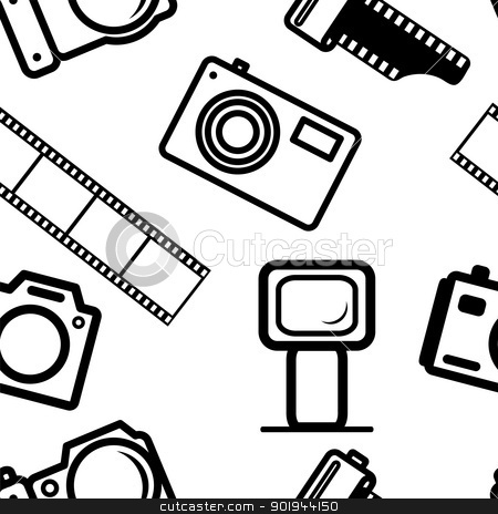 seamless background, of digital cameras stock vector clipart, seamless background, of digital cameras, tripod, film by aarrows