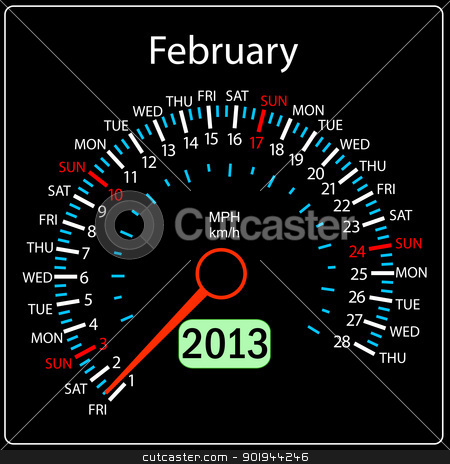 2013 year calendar speedometer car in vector. February. stock vector clipart, 2013 year calendar speedometer car in vector. February. by aarrows