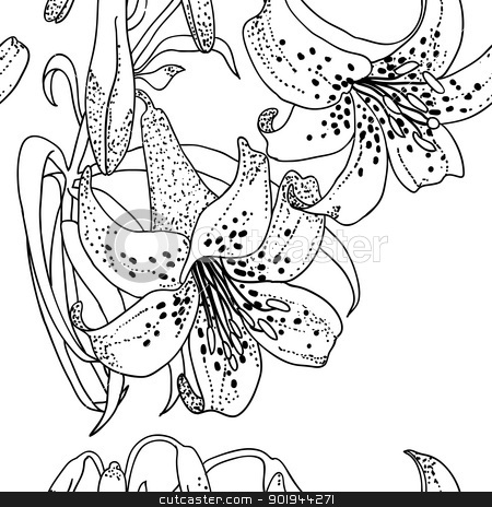 Seamless wallpaper with Lily flowers stock vector clipart, Seamless wallpaper with Lily flowers by aarrows