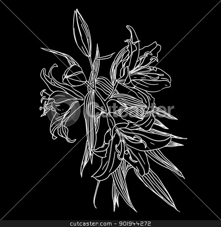 Black and white background with white flowers stock vector clipart, Black and white background with white flowers by aarrows