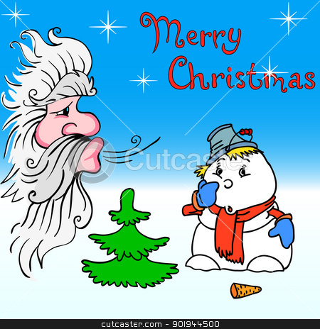 Santa Claus and snowman blows on stock vector clipart, Santa Claus and snowman blows on by aarrows