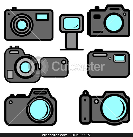 A set of digital cameras stock vector clipart, A set of digital cameras by aarrows