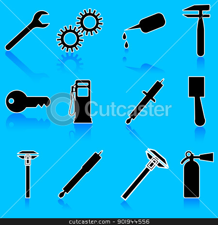Auto Car Repair Service Icon Symbol stock vector clipart, Auto Car Repair Service Icon Symbol by aarrows