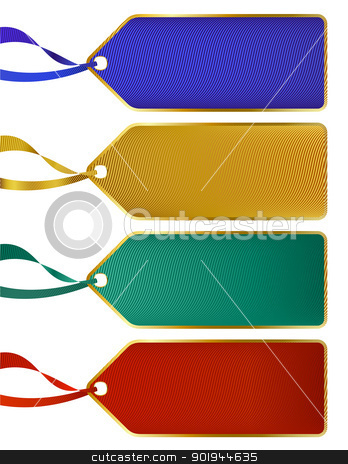 Set of Rich luxury color labels, tags with gold boarders stock vector clipart, Set of Rich luxury color labels, tags with gold boarders by Fenton