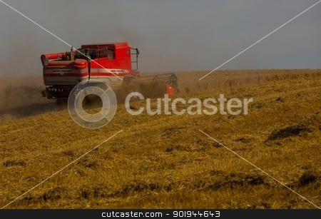 Beating the Weather 4 stock photo, Farmer and Combined Harvester processing a wheat field in West Somerset, England. by Trevor Jordan