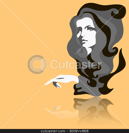 Fashion model. Vector illustration. Woman's face stock vector clipart, Fashion model. Vector illustration. Woman's face by aarrows