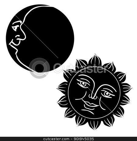 Vector illustration of Moon and Sun with faces  stock vector clipart, Vector illustration of Moon and Sun with faces  by aarrows
