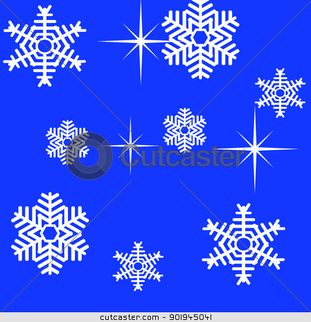 Snowflake winter set vector illustration stock vector clipart, Snowflake winter set vector illustration by aarrows