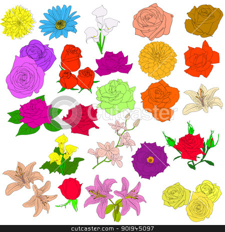Set of  in hand drawn style roses. Vector EPS 10 illustration. stock vector clipart, Set of  in hand drawn style roses. Vector EPS 10 illustration. by aarrows