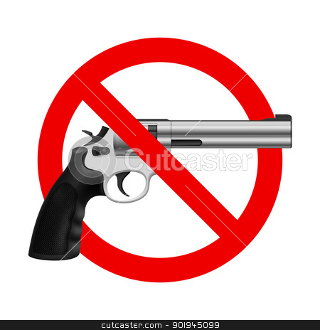 Symbol No gun stock photo, Symbol No Gun. Illustration on white background by dvarg