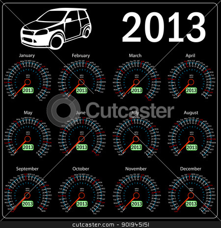2013 year alendar speedometer car in vector.  stock vector clipart, 2013 year alendar speedometer car in vector.  by aarrows