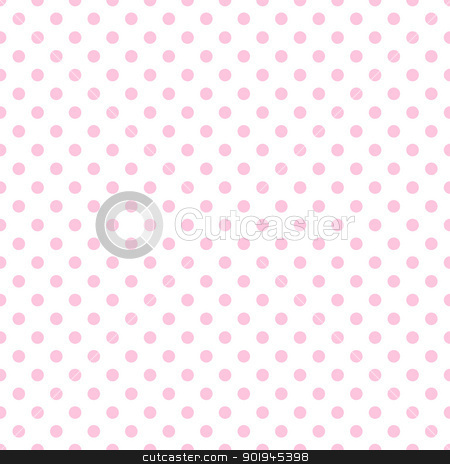 Pale Pink Polka Dots on White stock photo, Baby pink polkadots on white background by SongPixels