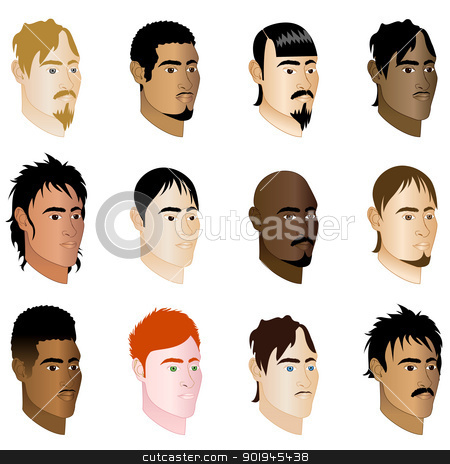 MenFaces7 stock vector clipart, Vector Illustration of 12 different men side profile view. by Basheera Hassanali