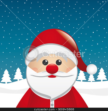 santa clause figure winter landscape stock photo, santa clause figure look winter night landscape by d3images