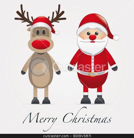 reindeer red nose next santa claus stock photo, rudolph reindeer red nose next santa claus by d3images