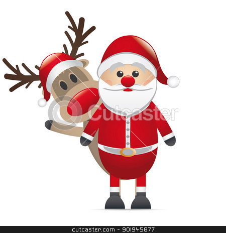 reindeer red nose behind santa claus stock photo, rudolph reindeer red nose behind santa claus by d3images