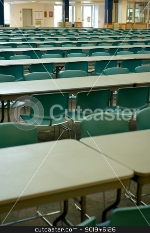 Large Classroom With Tables stock photo, A large classroom with hundreds of seats and tables at a private university by Shane Morris
