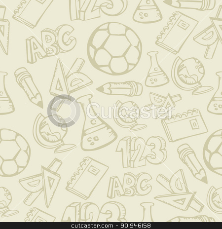 Back to School supplies seamless pattern stock vector clipart, Back to School supplies seamless pattern background. Vector illustration layered for easy manipulation and custom coloring. by Cienpies Design