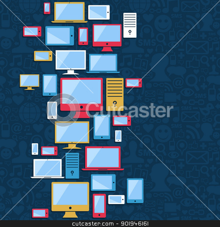 Computer, mobile and tablet icons blue background stock vector clipart, Multicolored devices icons seamless pattern over social media blue background. Vector illustration layered for easy manipulation and custom coloring. by Cienpies Design