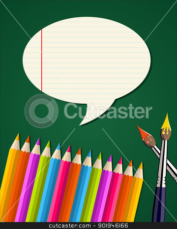 Back to school supplies set with talk bubble stock vector clipart, Colorful pencils and paint brushes back to school background. Vector illustration layered for easy manipulation and custom coloring. by Cienpies Design