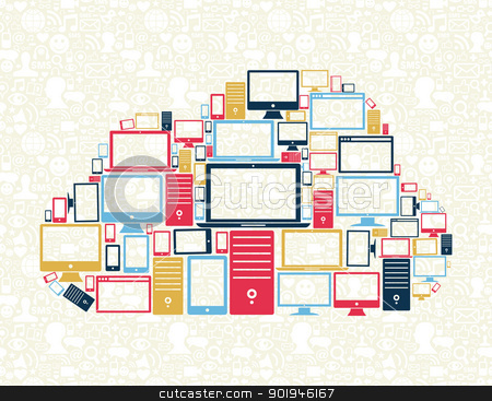 Cloud computing concept illustration stock vector clipart, Computer, mobile phone and tablet icons in cloud computing shape with social media pattern background. Vector illustration layered for easy manipulation and custom coloring. by Cienpies Design