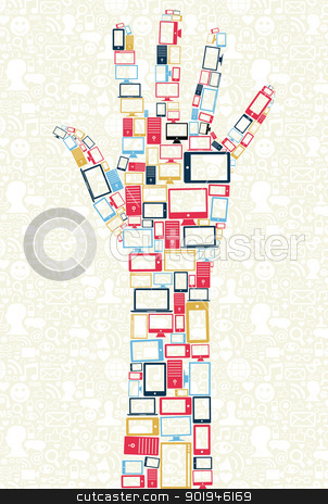 Social media gadgets icons in hand shape concept  stock vector clipart, Computer, mobile phone and tablet colors icons in human hand shape over social media backgroun. Vector illustration layered for easy manipulation and custom coloring. by Cienpies Design