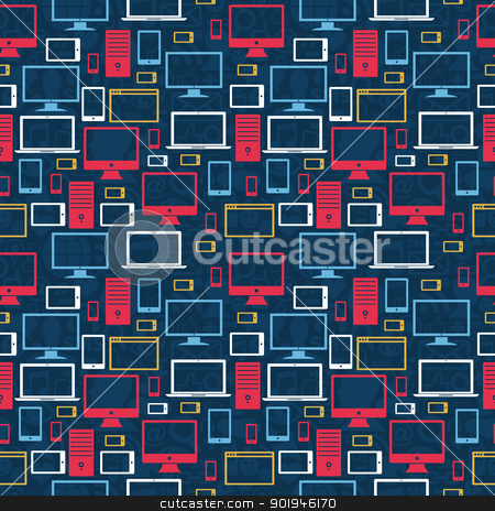 Computer icons seamless pattern stock vector clipart, Computer, tablet and mobile icons seamless pattern over social media background. Vector illustration layered for easy manipulation and custom coloring. by Cienpies Design