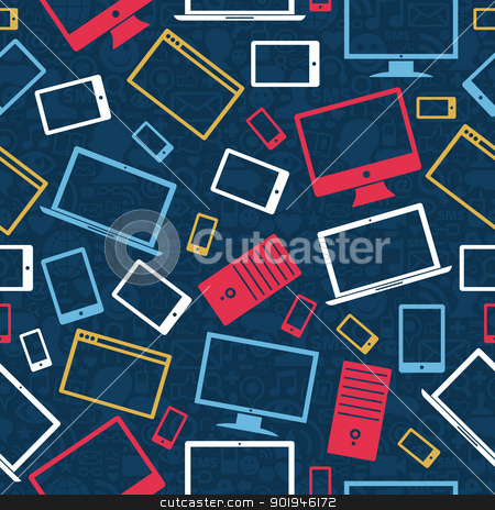 Tablet, computer and mobile icons seamless pattern stock vector clipart, Gadgets icons seamless pattern over social media background. Vector illustration layered for easy manipulation and custom coloring. by Cienpies Design