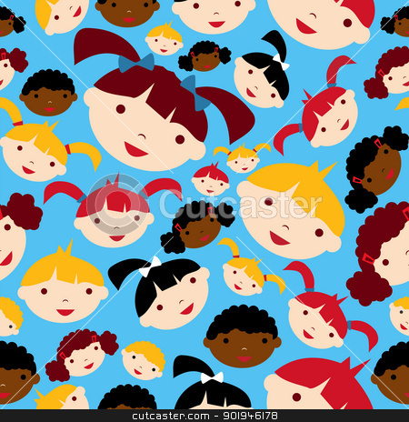 Diversity children faces pattern stock vector clipart, Diversity children faces seamless pattern background. Vector illustration layered for easy manipulation and custom coloring. by Cienpies Design