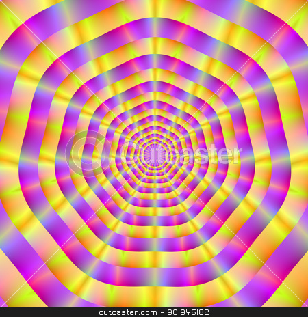 Pink and Yellow Rings stock photo, Digital abstract image with a radiating seven sided ring design in pink and yellow. by Colin Forrest