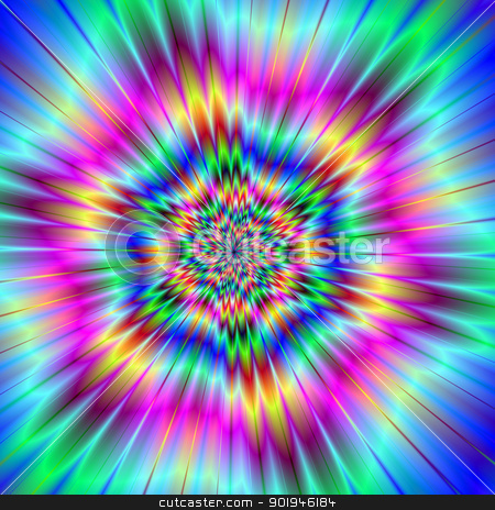 Exploding Star stock photo, Digital abstract image with a colorful explosion star design in lilac, blue, pink, yellow, and red. by Colin Forrest